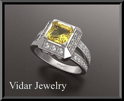 Yellow Sapphire And Diamond Double Halo 14k White Gold Engagement Ring by Roi Avidar