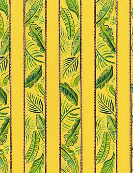 Yellow Striped Palms Textile Pattern by John Keaton