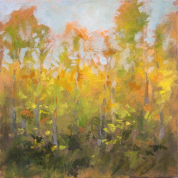 Yellow Treeline by Mary Brooking