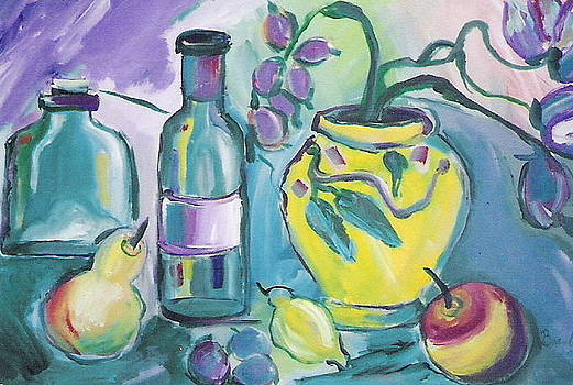 Yellow Vase and Bottles  by Brenda Ruark