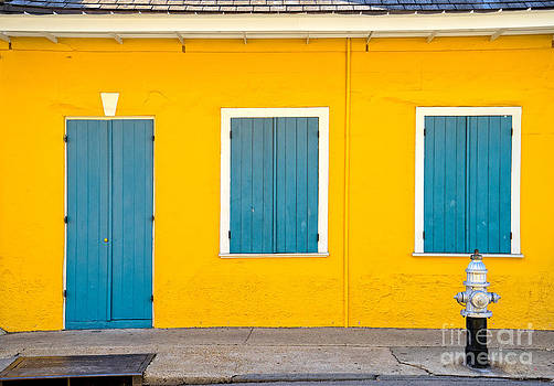 Yellow and Blue Creole Cottage by Jerry Fornarotto