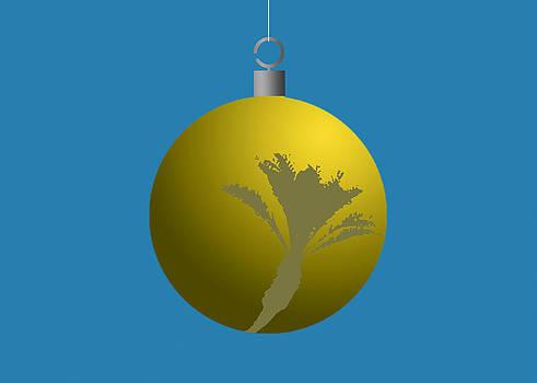 Stan  Magnan - Yellow Xmas Palm Tree Ball Ornament