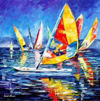 Yellow Yacht - PALETTE KNIFE Oil Painting On Canvas By Leonid Afremov by Leonid Afremov