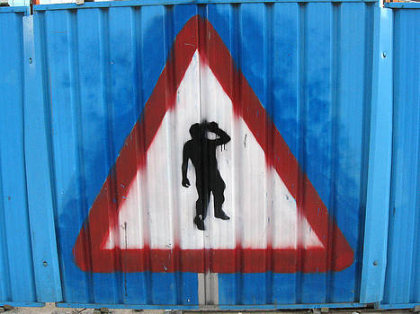 Yield to drunkards. Painted on construction fence in Leeds. by Rob Huntley