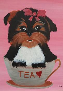 Yorkie Pup In A Cup by Paula Marley