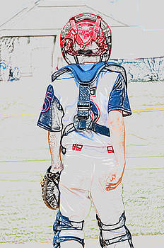Young baseball catcher during game. by Tammy Abrego