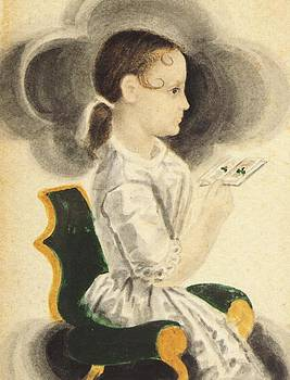 Young Girl Holding Book by James Ellsworth