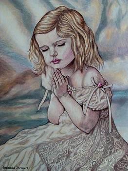 Young girl Praying by Amanda Hukill
