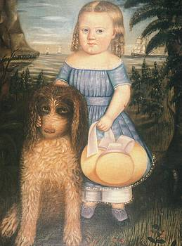 Young Girl With Her Dog by Susan C Waters