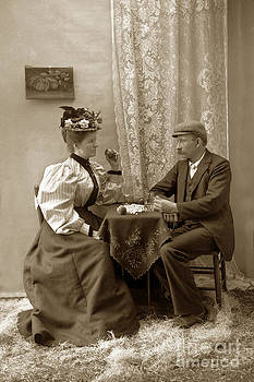 California Views Mr Pat Hathaway Archives - Young Victorian couple sitting at a table circa 1910