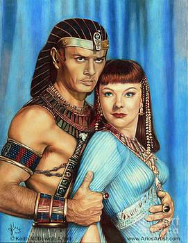 Yul Brynner and Anne Baxter in Ten Commandments  @ AriesArtist.com by AriesArtist Com