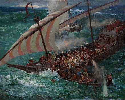 Zaporozhye Cossacks boarded the Turkish ship by Korobkin Anatoly