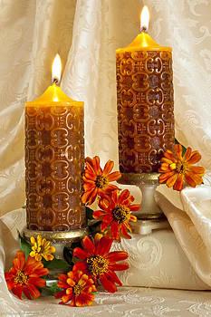 Sandra Foster - Zinnias And Candles Still Life