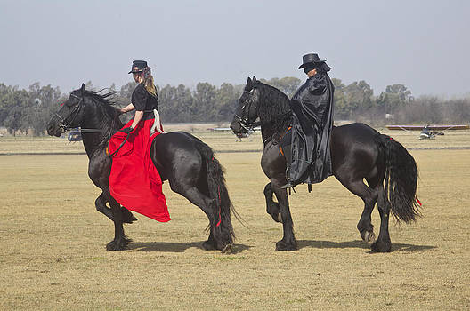 Venetia Featherstone-Witty - Zorro and his Lady on their Friesian Horses