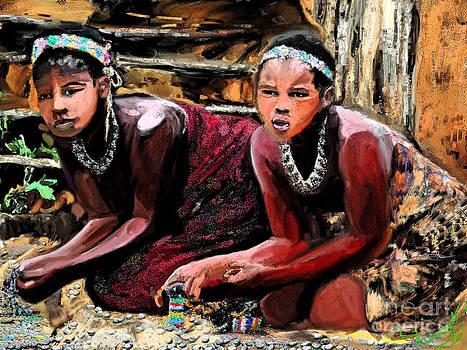 Zulu Women Beading  by Vannetta Ferguson