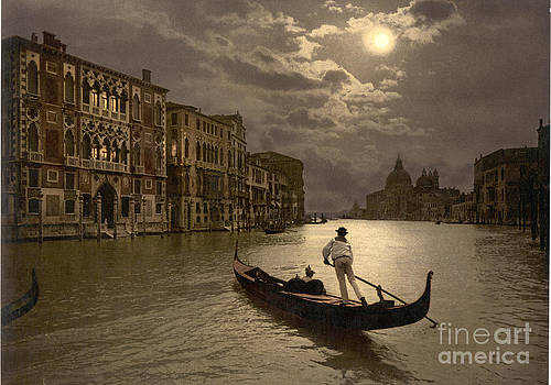 Gondola in the moonlight Venice Italy by Heinz G Mielke