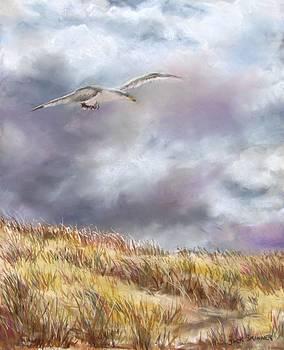 Seagull Flying Over Dunes by Jack Skinner