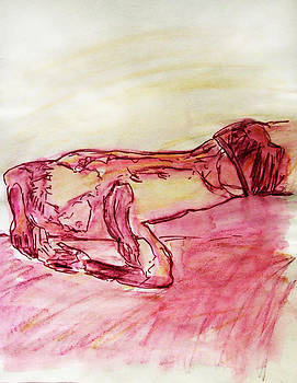 Sleeping Beauty Figure Sketch in Yellow Purple Lying on Couch Nude Arched Back and Muscled Arms by M Zimmerman