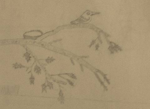 A Bird Sitting On A Branch by Miles The Artist