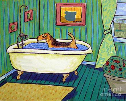 Airedale Terrier Taking a Bath by Jay  Schmetz