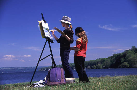 Artist Painting Cayuga Lake by Roger Soule