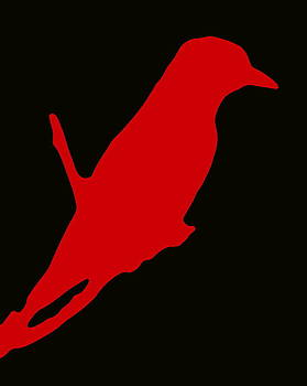 Ramona Johnston - Bird Silhouette Black Red
