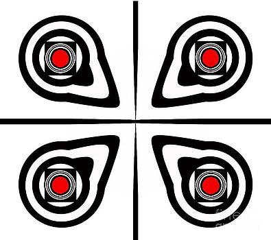 Geometric Art Black White Red Abstract No.190. by Drinka Mercep