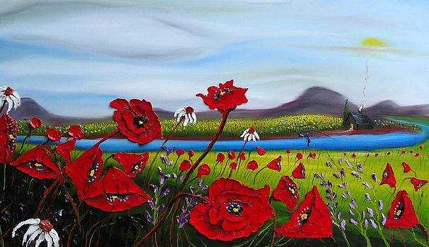 Blue River Red Poppies by Portland Art Creations