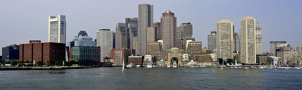 Boston Harbor Skyline by Peggie Strachan