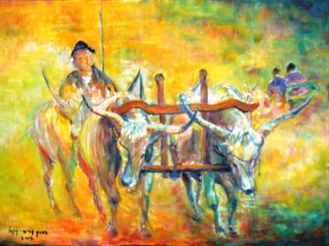 Bull plowing by Baruch Neria-Kandel