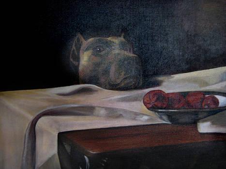 Caesar the Artists Dog by Cynthia Mozingo