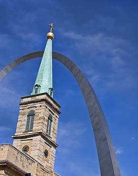 Church steeple and arch by Barbara Cary