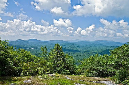 Distant Mountain View with Clouds by Susan Leggett