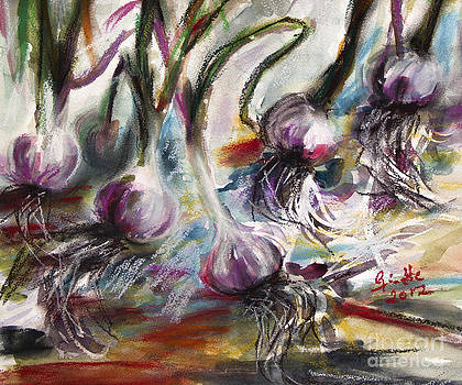 Ginette Callaway - Garlic Watercolor and Pastel by Ginette