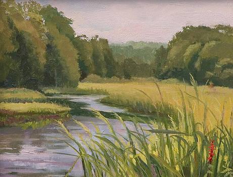 Marsh View with Cardinal Flower by Karen Lipeika