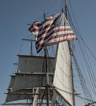 Old Glory at sea by Dave Dick