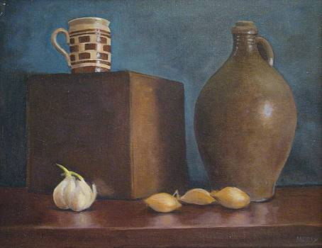Ovoid jug with garlic and shallots by Mark Haley