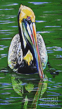 Pelican On Water by Tami Curtis