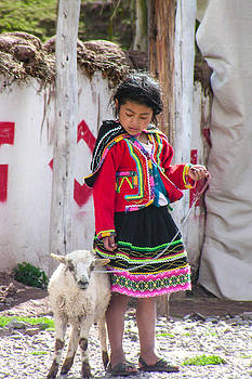 Peruvian Girl and her Lamb by Les Abeyta