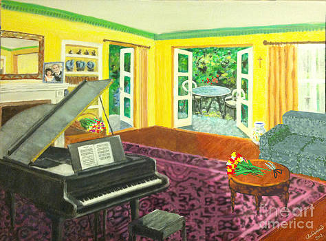 Piano Room With Flowers by Charlie Harris