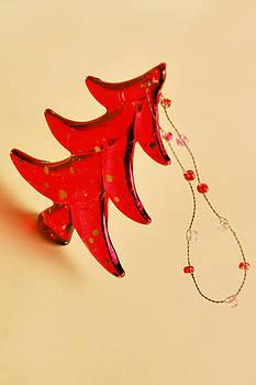 Red Christmas Tree Ornament by Carol Vanselow