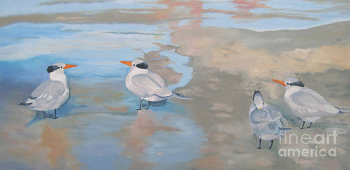 Terns on the Beach Florida by Joan McGivney