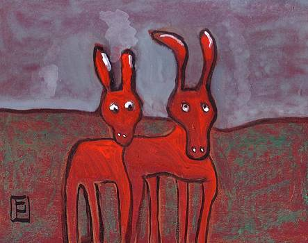 Two donkeys by Peter  McPartlin