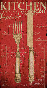 Vintage Kitchen Utensils in Red by Grace Pullen