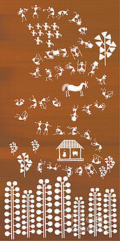 Warli Rejoicing by Subhash Limaye