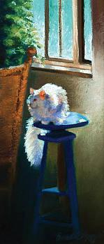 White Cat Reflecting by Bernadette Kazmarski