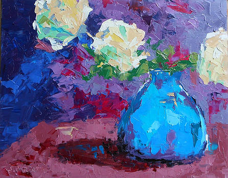Yellow Roses in a Blue Vase by Sylvia Miller