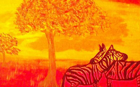 Zebra sunset  by Patricia Campbell