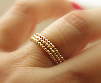 14k Gold Filled Dotted  Beaded Stackable Rings eternity bands made to order set of 3 by Nadina Giurgiu