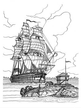1814 HMS St.Lawrence at Brockville by John Cullen